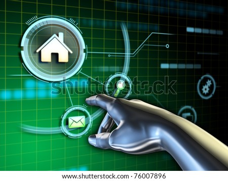 Android hand interacting with a touch screen interface. Digital illustration. - stock photo