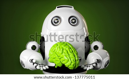Android holding a large green brain. Rendered over green background