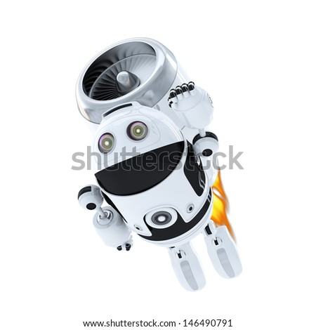 Android robot flying with jet pack. Superhero concept - stock photo