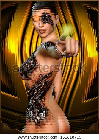 Android, robot girl revealed. Torn skin reveals she is a robot / android underneath.  Set on a gold and brown abstract background for an added dimension of science fiction. - stock photo