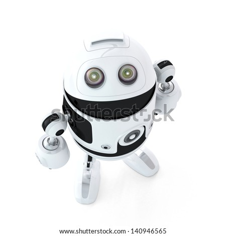 Android robot look up. Isolated on white background - stock photo