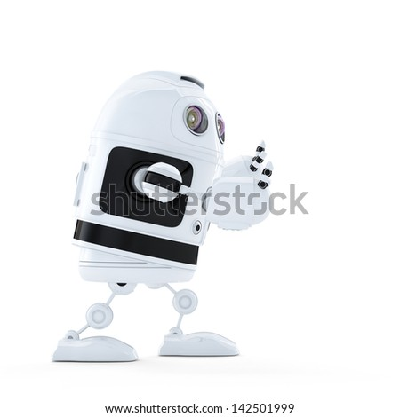 Android robot pushing an invisible object. Isolated on white background - stock photo