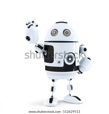Android robot showing ok sign. Technology concept. Isolated