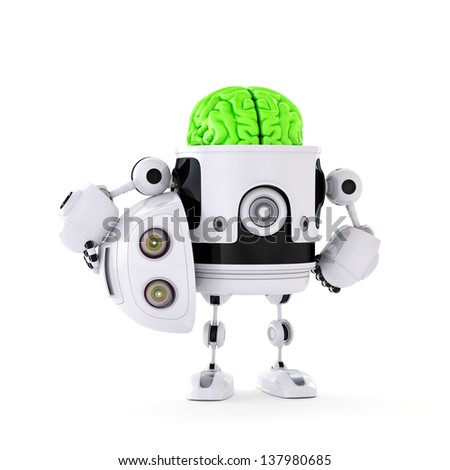 Android Robot with huge green brain. Artificial intellect concept. Isolated on white background - stock photo