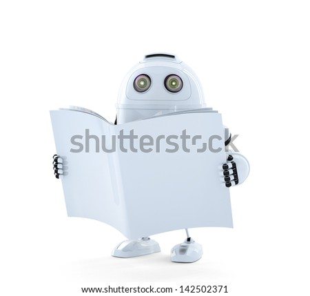 Android Robot with manual. Isolated on white - stock photo