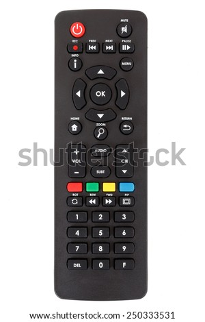 android set top box TV remote control isolated on white background - stock photo