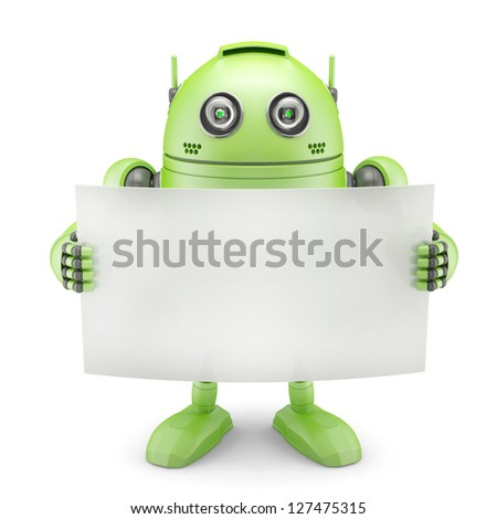 Android with blank banner. Isolated on white background - stock photo