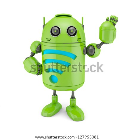 Android with WiFi symbol. Isolated on white