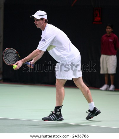 Andy Murray of Britain at the Qatar Mobil Open tournament semi-finals, January 5, 2007, which he won