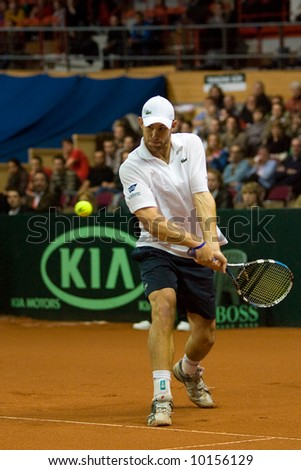 Andy Roddick during his match against Juergen Melzer of Austria - Davis Cup Austria 2008 - stock photo