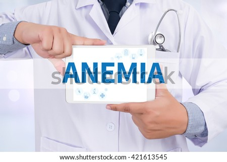 ANEMIA Doctor holding  digital tablet - stock photo