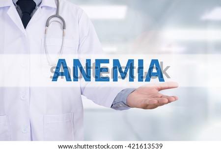 ANEMIA Medicine doctor hand working - stock photo