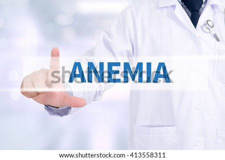 ANEMIA Medicine doctor working with computer interface as medical - stock photo
