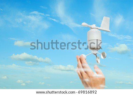 anemometer in the sky - stock photo