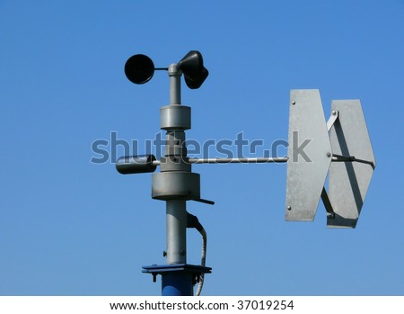 Anemometer - specialist equipment for wind monitoring, part of weather station - stock photo