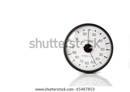 Aneroid barometer combined with thermometer device isolated on white