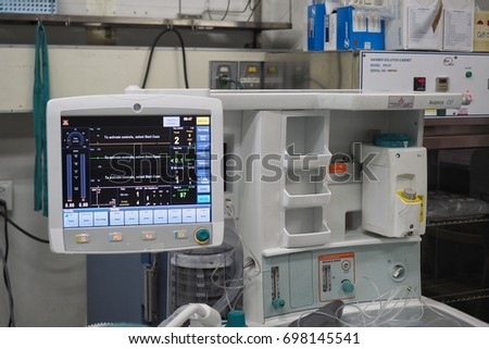 Anesthesia machine unit during demonstrate event ,9/8/2017, at Loei hospital, Loei Province, Thailand.