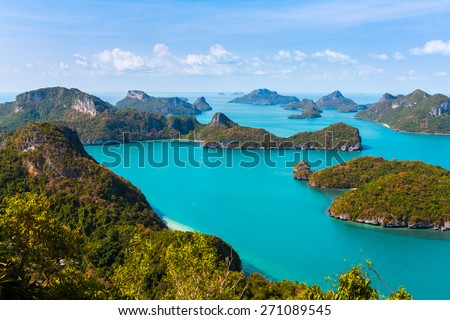 Ang Thong National Marine Park islands. Thailand. horizontall composition. bird's-eye view - stock photo