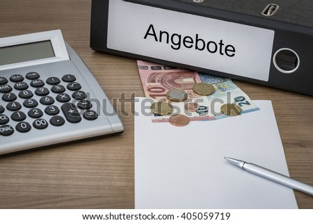 Angebote (German Offers) written on a binder on a desk with euro money calculator blank sheet and pen - stock photo
