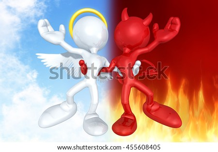 Angel And Devil Character Together 3D Illustration - stock photo