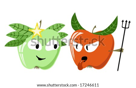 angel and devil from apple - stock photo