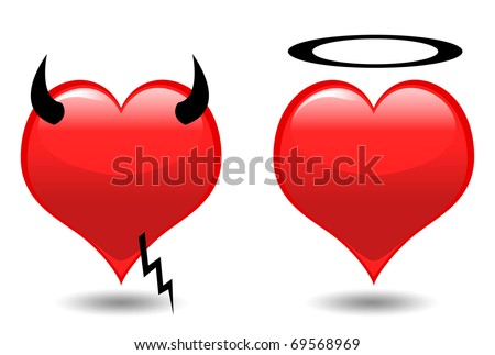 Angel and Devil hearts isolated on white - stock photo