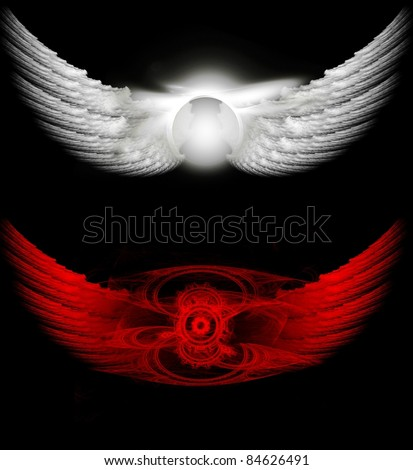 Angel and devil wings - stock photo