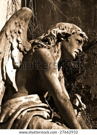 Angel at La Recoleta Cemetery in Buenos Aires - stock photo
