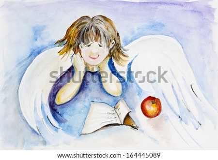 Angel Boy reading a book on blue sky concept. Watercolor handmade art illustration - stock photo