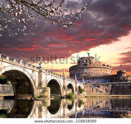 Angel Castle with bridge on Tiber river in Rome, Italy - stock photo