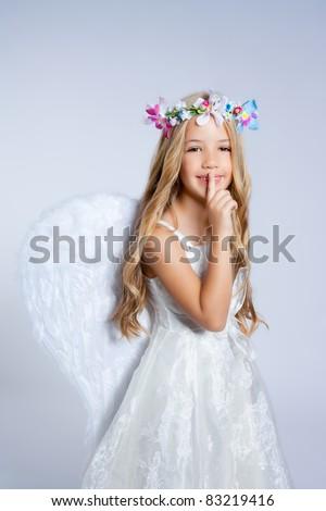 Angel children little girl sleeping finger in mouth gesture - stock photo