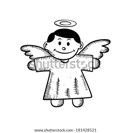 angel Christmas decoration doodle - stock photo