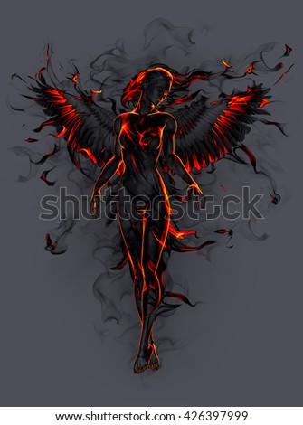Angel. 3D illustration. - stock photo