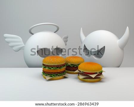 angel, demon and burgers - stock photo