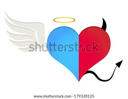 Angel/devil heart - stock photo