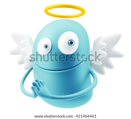 Angel Emoticon Character Face Expression. 3d Rendering. - stock photo