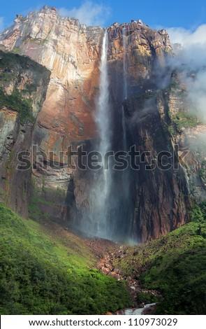 Angel Falls ( Salto Angel ) is worlds highest waterfalls (978 m), Venezuela - stock photo