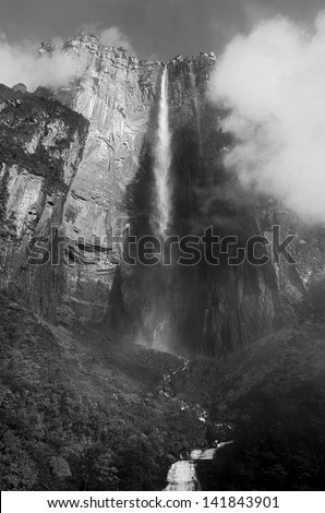 Angel Falls ( Salto Angel ) is worlds highest waterfalls (978 m) - Venezuela, South America (black and white) - stock photo