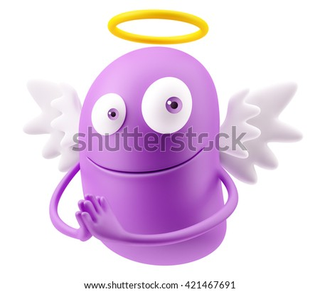 Angel Flying Heaven Emoticon Face. 3d Rendering. - stock photo