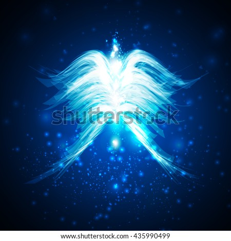 Angel futuristic background, wing illustration  - stock photo