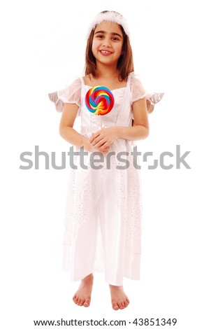 Angel holding lolly pop isolated on white