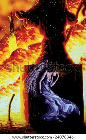 angel in fire painting - stock photo