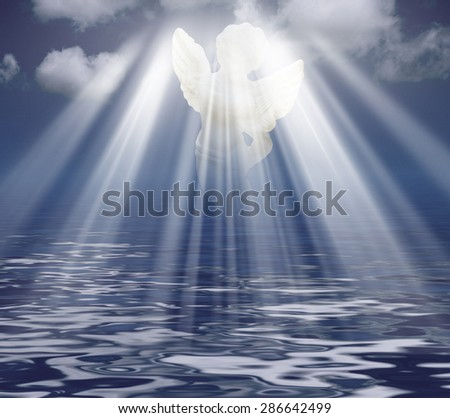 Angel in Sky Clouds with Rays of light. Religion concept - stock photo