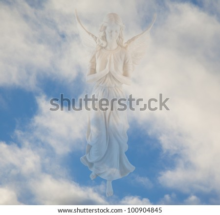 Angel in the clouds - stock photo
