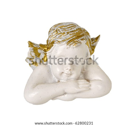 angel in white and gold shades on a white background - stock photo