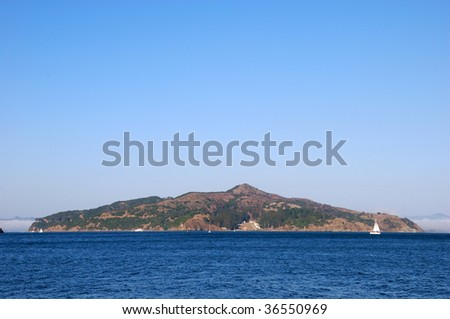 Angel Island in San Francisco Bay, California on a sunny day. - stock photo