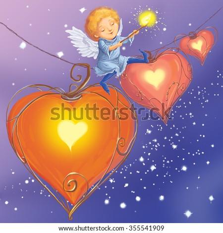 Angel light hearts love congratulates with Valentine's Day.  Fantastic Cartoon Style.  Scene / Wallpaper / Background Design - stock photo