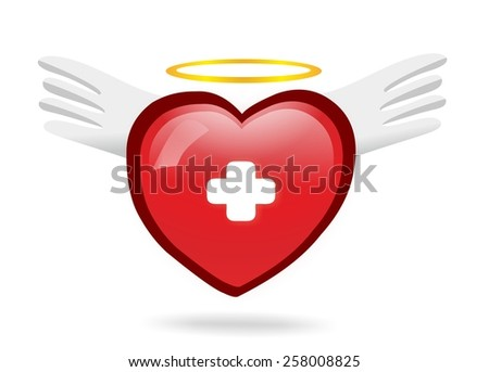 Angel medical heart with wings - stock photo