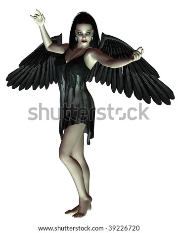 Angel of Death - arms raised - stock photo