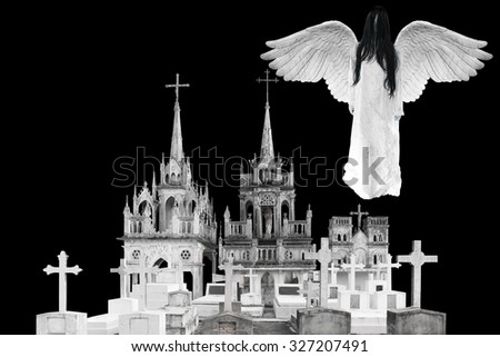 Angel of death floating above upper graveyard with Halloween characteristic - stock photo